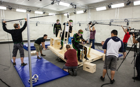Motion capture actors performing in Ubisoft Studios.
